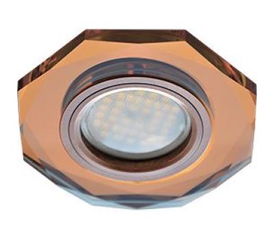 Ecola MR16 DL1652 GU5.3 Glass Стекло 8-угольник с прямыми гранями Янтарь / Черненая медь 25x90 Solnechnogorsk