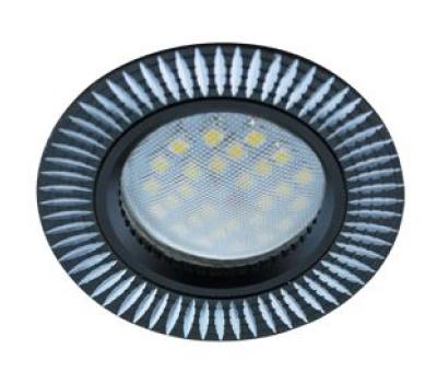 НОВИНКА!Светильник Ecola MR16 DL3182 GU5.3 встр. литой (скрытый крепёж лампы) Рифлёные реснички по кругу Чёрный/Алюминий 23х78 Solnechnogorsk