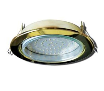 Встраиваемый потолочный точечный светильник-спот Экола GX70 H5 без рефлектора. Золото. Solnechnogorsk