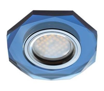 Ecola MR16 DL1652 GU5.3 Glass Стекло 8-угольник с прямыми гранями Голубой / Хром 25x90 Solnechnogorsk