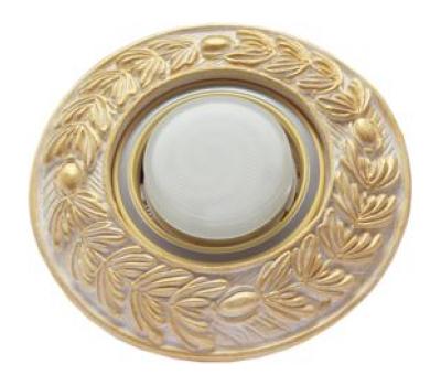 """Ecola накладка широкая гипсовая """"оливковый венок"""" для встр. свет-ка GX53 H4 золото на белом 23х195 Solnechnogorsk"""