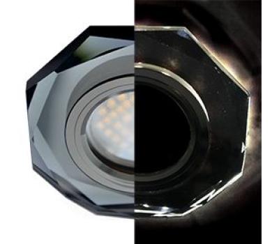 Ecola MR16 LD1652 GU5.3 Glass Стекло с подсветкой 8-угольник с прямыми гранями Черный / Черный хром 25x90 (кd74) Solnechnogorsk