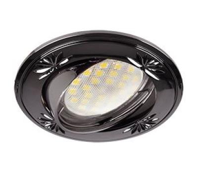 Ecola MR16 DL21 GU5.3 Светильник встр. литой поворотный искр.гравир. Четыре цветка Черный Хром 23x84 Solnechnogorsk