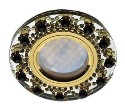 Ecola MR16 DL1660 GU5.3 Glass Стекло Круг с  прозр.и янтарн. стразами Корона (оправа золото)/фон зерк./центр.часть золото 28x93 Solnechnogorsk