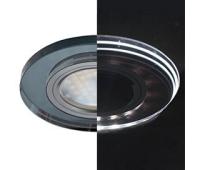 Ecola MR16 LD1650 GU5.3 Glass Стекло с подсветкой Круг Черный / Черный хром 25x95 (кd74) Solnechnogorsk