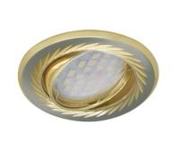 НОВИНКА!Светильник Ecola MR16 KL6A GU5.3 встр. литой поворотный искристая гравировка Листья Сатин-Хром/Золото 23х86 Solnechnogorsk