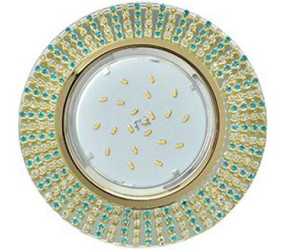 Ecola GX53 H4 Glass Круг с прозр. и бирюз. страз. (оправа золото)/ фон зерк./центр  золото 40x120 Solnechnogorsk