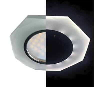 Ecola MR16 LD1652 GU5.3 Glass Стекло с подсветкой 8-угольник с прямыми гранями Матовый / Хром 25x90 (кd74) Solnechnogorsk