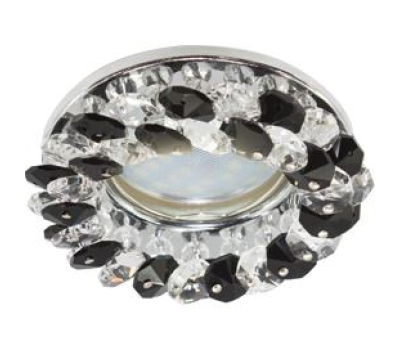 Светильник Ecola MR16 CD4141 GU5.3 встр. круглый с хрусталиками Прозрачный и Черный/Хром 50x90 Solnechnogorsk
