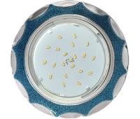 Ecola GX53 H4 DL3902 светильник встраив. без рефл.  Звезда под стеклом Голубой блеск / хром 106х38 (к+) Solnechnogorsk