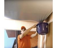 Слив воды с натяжного потолка (демонтаж полотна, просушка от влаги)